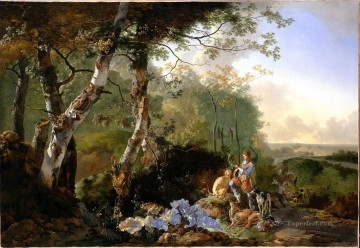 Hunting Painting - Pynacker Landscape with Sportsmen and Game cynegetics
