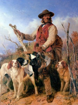 dog dogs Painting - Richard Ansdell Gamekeeper with Dogs cynegetic