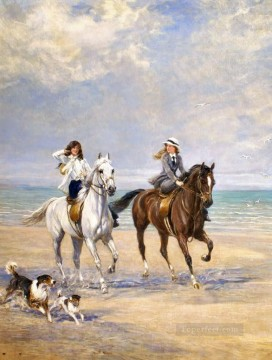 Classical Painting - equestrienne seaside Heywood Hardy hunting