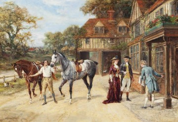 After the morning gallop Heywood Hardy hunting Oil Paintings