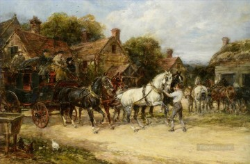 Classical Painting - Changing Horses Heywood Hardy hunting