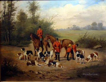 Hunting Painting - Gathering of Gdr0Dogs classical hunting