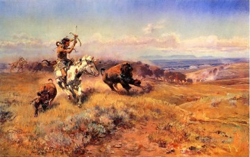 Hunting Painting - Indians hunting cattle