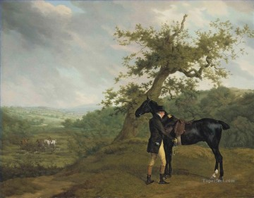Hunting Painting - Jacques Laurent Agasse George Irving with his black hunter