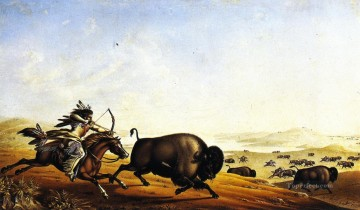 Hunting Painting - Peter Rindisbacher xx Assiniboin Hunting on Horseback