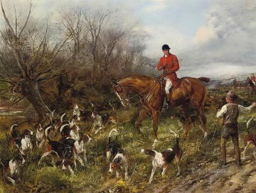Classical Painting - The lost scent Heywood Hardy hunting