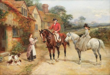 The new litter Heywood Hardy hunting Oil Paintings
