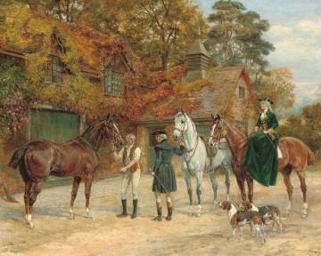 horse racing Painting - change horses Heywood Hardy hunting
