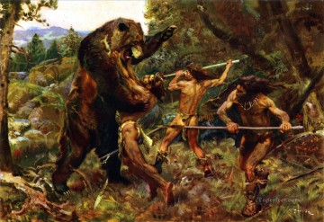 Hunting Painting - hunt bear
