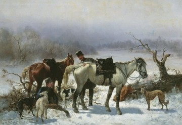 dogs playing poker Painting - hunt horses and dogs in winter