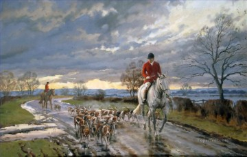 Hunting Painting - hunters and dogs on the way