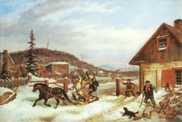 Hunting Painting - hunters back to village