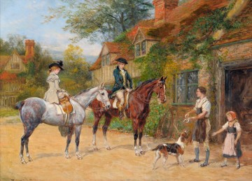 Classical Painting - hunters guest rural 2 Heywood Hardy hunting