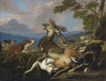 Hunting Painting - hunting dogs and deer