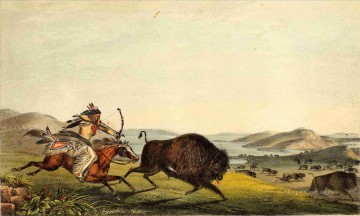 Hunting Painting - hunting the buffalo
