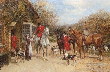 Classical Painting - A drink before the hunt Heywood Hardy hunting