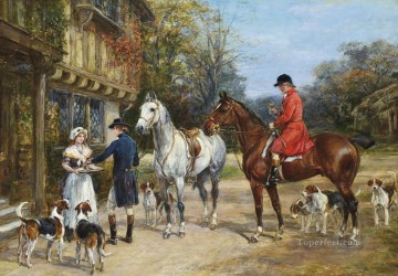 Classical Painting - A toast before the hunt Heywood Hardy hunting
