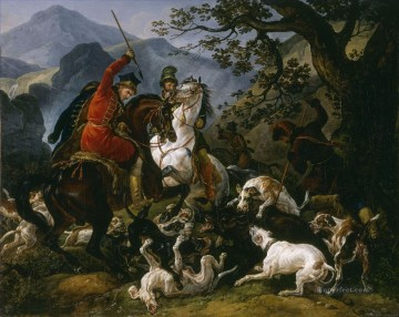 Hunting Painting - Carl Vernet Boar Gdr0in Poland classical hunting