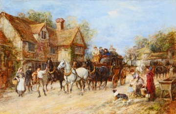 Classical Painting - Changing the Horses Heywood Hardy hunting