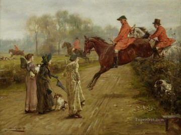 1895 Oil Painting - George Goodwin Kilburne Watching the hunt 1895