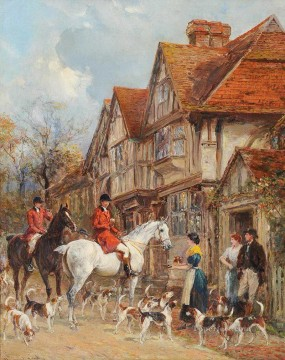Classical Painting - HALT FOR REFRESHMENTS Heywood Hardy hunting