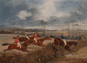Hunting Painting - Henry Thomas Alken Scenes from a steeplechase Taking a Hedge cynegetic