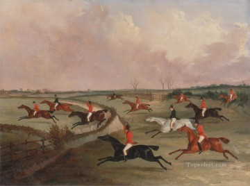 Hunting Painting - John Dalby The Quorn Hunt in Full Cry Second Horses after Henry Alken