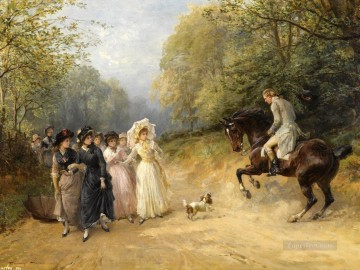 Hunting Painting - hunter meet ladies