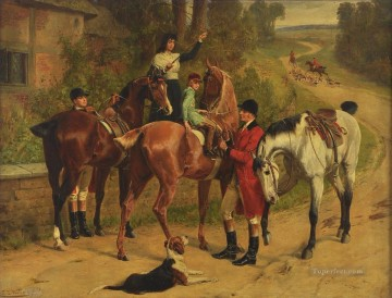 Classical Painting - hunters departing Samuel Edmund Waller genre hunting