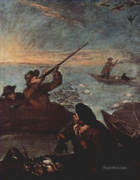 Classical Painting - hunters shooting at ducks