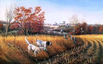 Hunting Painting - hunting dogs prey on mallards