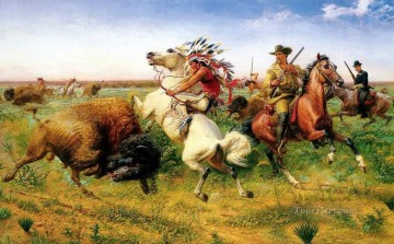 Hunting Painting - louis maurer the great royal buffalo hunt 1895