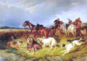 Hunting Painting - nikolai sverchkov hunting the wolf 1873