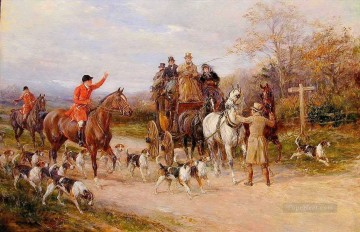 Classical Painting - A Narrow Miss at the Crossroads Heywood Hardy hunting