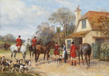 Artworks in 150 Subjects Painting - Gathering for the hunt Heywood Hardy hunting