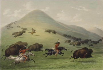 Hunting Painting - George Catlin Buffalo hunt
