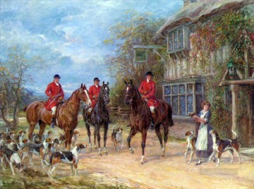 Hunting Painting - Heywood Hardy A Halt at the Inn cynegetic