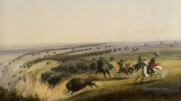 Hunting Painting - alfred jacob miller hunting buffalo walters