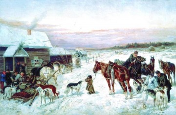 Hunting Painting - nikolai sverchkov at the winter hunting