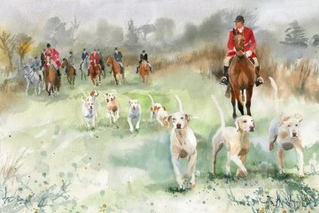 watercolor of Hunt Covering Ground Oil Paintings