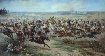 Military Wars Painting - A Charge of the Russian Leib Guard on 2 June 1807 Viktor Mazurovsky Military War