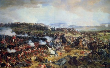 Military Wars Painting - The Battle of Waterloo The British Squares Receiving the Charge of the French Cuirassiers by Henri Felix Emmanuel Philippoteaux Military War
