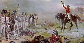 Classical Painting - General Hill invites the last remnants of French Imperial Guard to surrender Remembered moment of the battle Robert Alexander Hillingford historical battle scenes Military War