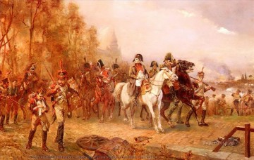 Napoleon with his troops at the battle of borodino Robert Alexander Hillingford historical battle scenes Military War Oil Paintings