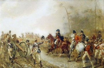 Classical Painting - The Duke Of Wellington On The Road To Quatre Bras Robert Alexander Hillingford historical battle scenes Military War