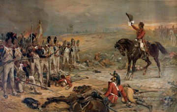 Classical Painting - The Last Stand Of The Imperial Guards At Waterloo Robert Alexander Hillingford historical battle scenes Military War