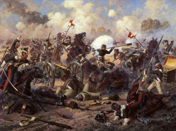Major general Kostenetskiv exploit in the battle of Borodino Yurievich Averyanov Military War Oil Paintings