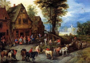 Rococo Painting - Breughel Jan A Village Street With The Holy Family Arriving At An Inn Rococo
