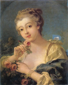 Young Woman with a Bouquet of Roses Francois Boucher classic Rococo Oil Paintings