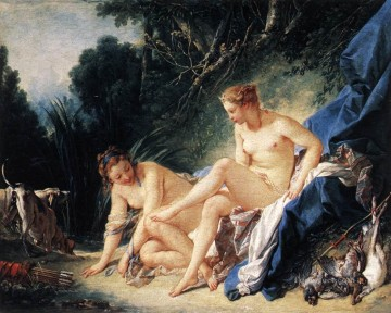 vagabonds resting in a cave Painting - Diana resting after her Bath Francois Boucher classic Rococo